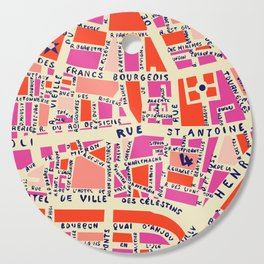 paris map pink Cutting Board