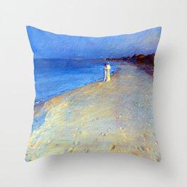 Peder Severin Kroyer Summer Evening at Skagen Beach Throw Pillow