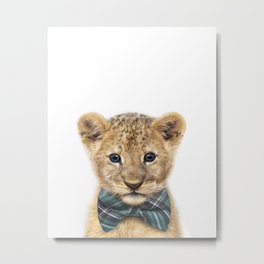 Baby Lion With Bow Tie, Baby Animals Art Print By Synplus Metal Print