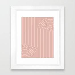 Minimal Line Curvature - Vintage Pink Framed Art Print