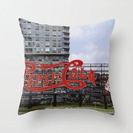 Cola sign at New York City Throw Pillow