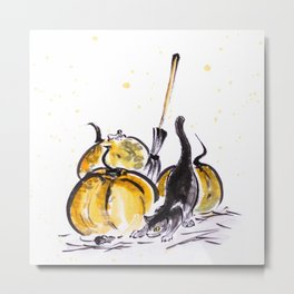Trick or treat 2 a cat and mice near a pumpkin sumie painting autumn harvest halloween Metal Print