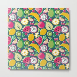 Paper cut geo fruits // teal background multicoloured geometric fruits Metal Print