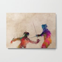 Fencing sport art #fencing Metal Print