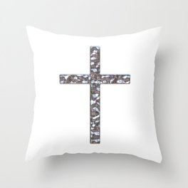 Chrome Crucifix Solid Throw Pillow