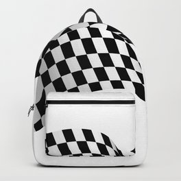 Wavy checkered racing flag, black and white Backpack