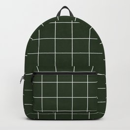 Small Grid Pattern - Deep Green Backpack