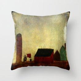Americana Barnyard with Tractor Throw Pillow