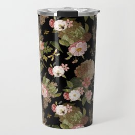 Vintage & Shabby Chic - Midnight Botanical Flower Roses Garden  Travel Mug