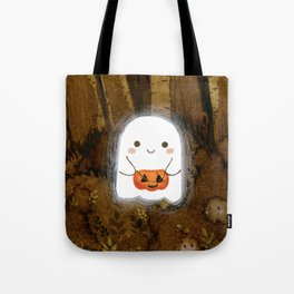 Little ghost and pumpkin Tote Bag