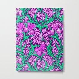 William Morris Irises, Amethyst Purple Metal Print