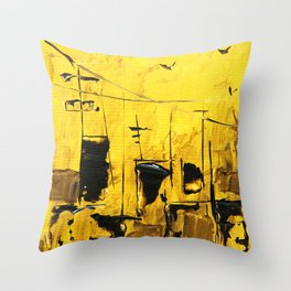 SoapsAndRoses: Gold Cityscape Throw Pillow