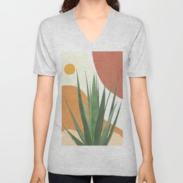 Abstract Agave Plant Unisex V-Neck