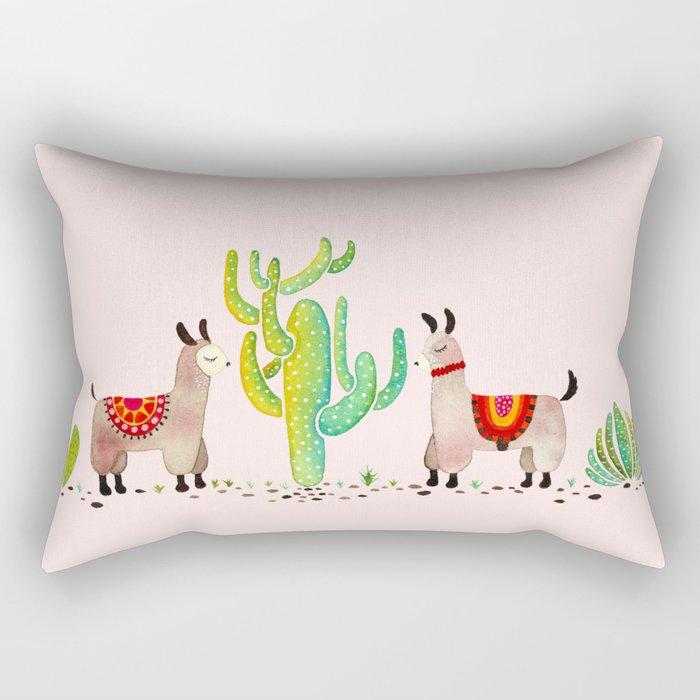 Cute alpacas with pink background Rectangular Pillow