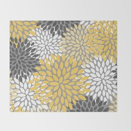 Modern Elegant Chic Floral Pattern, Soft Yellow, Gray, White Throw Blanket