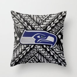 Seahawks poly style Throw Pillow