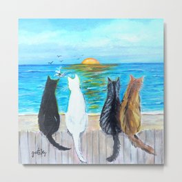 Cat Beach Sunset Metal Print
