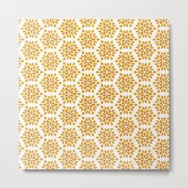 Autumn Brown Burnt Orange Starburst Radial Vegetation Pattern Metal Print