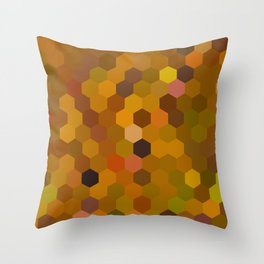 dima - warm autumn colours of brown rust mustard orange mosaic design Throw Pillow