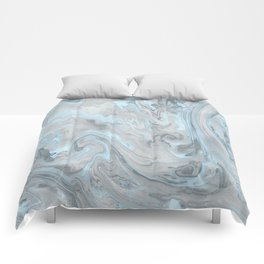 Ice Blue and Gray Marble Comforters