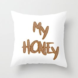 Love - My Honey In Cookie Letters Throw Pillow