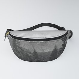 Snow Capped Sierras - Black and White Nature Photography Fanny Pack