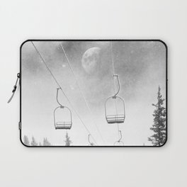 Ski Lift Moon Break // Riding the Mountain at Copper Colorado Luna Sky Peeking Foggy Clouds Laptop Sleeve
