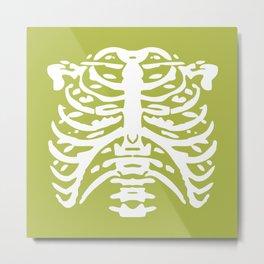 Human Rib Cage Pattern Chartreuse Green 2 Metal Print