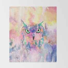 Watercolor eagle owl abstract paint Throw Blanket