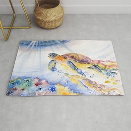 Going Up Sea Turtle Rug