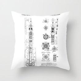 Soyuz Blueprint in High Resolution (white) Throw Pillow