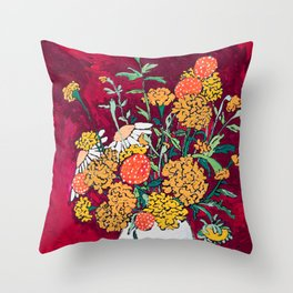 Marigold, Daisy and Wildflower Bouquet Fall Floral Still Life Painting on Eggplant Purple Throw Pillow
