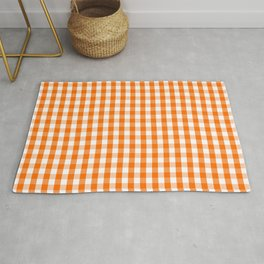 Classic Pumpkin Orange and White Gingham Check Pattern Rug