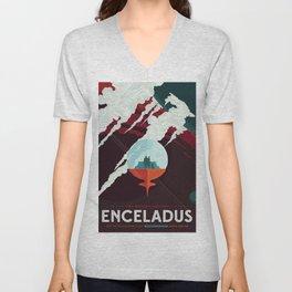 NASA Retro Space Travel Poster #3 - Enceladus Unisex V-Neck