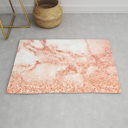 Sparkly Peach Copper Rose Gold Ombre Bohemian Marble Rug