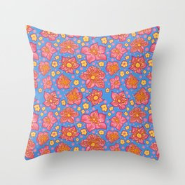 Beautiful Blue, Yellow and Pink Floral Pattern Throw Pillow