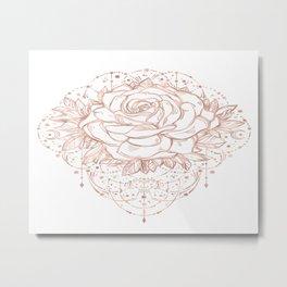 Mandala Lunar Rose Gold Metal Print