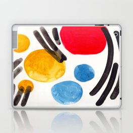 Mid Century Modern Abstract Juvenile childrens Fun Art Primary Colors Watercolor Minimalist Pop Art Laptop & iPad Skin