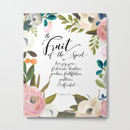 Fruit of the Spirit, blush pink floral palette Metal Print