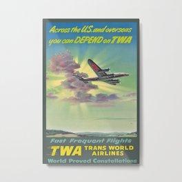 Fast frequent Flights Vintage Travel Poster Metal Print