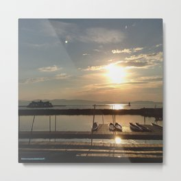 Lake Champlain Ferry to Burlington Vermont at Sunset Metal Print