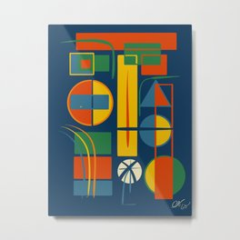 French Abstract Geometric Abstract with Circles, Rectangles and Triangles Metal Print