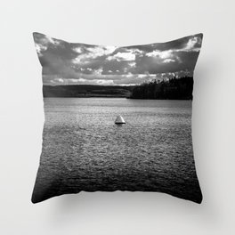 Lonely Ship Buoy Halt Weiterfahrt Verboten Möhne Reservoir Lake bw Throw Pillow