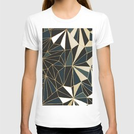 New Art Deco Geometric Pattern - Emerald green and Gold T-shirt