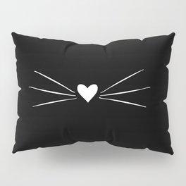 Cat Heart Nose & Whiskers White on Black Pillow Sham