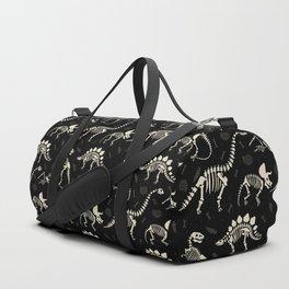 Dinosaur Fossils on Black Duffle Bag