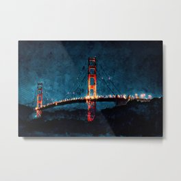 Digital Painting - San Francisco Bridge Metal Print