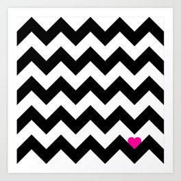 Heart & Chevron - Black/Pink Art Print