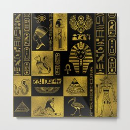 Egyptian  Gold hieroglyphs and symbols collage Metal Print