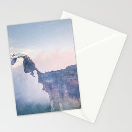 Falling Stars Surreal Levitation Off an Australian Cliff-Stars and a Levatating Woman Stationery Cards